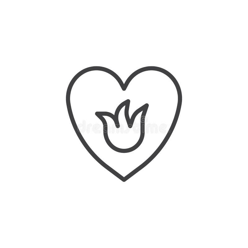 Φλόγα στο εικονίδιο περιλήψεων καρδιών απεικόνιση αποθεμάτων