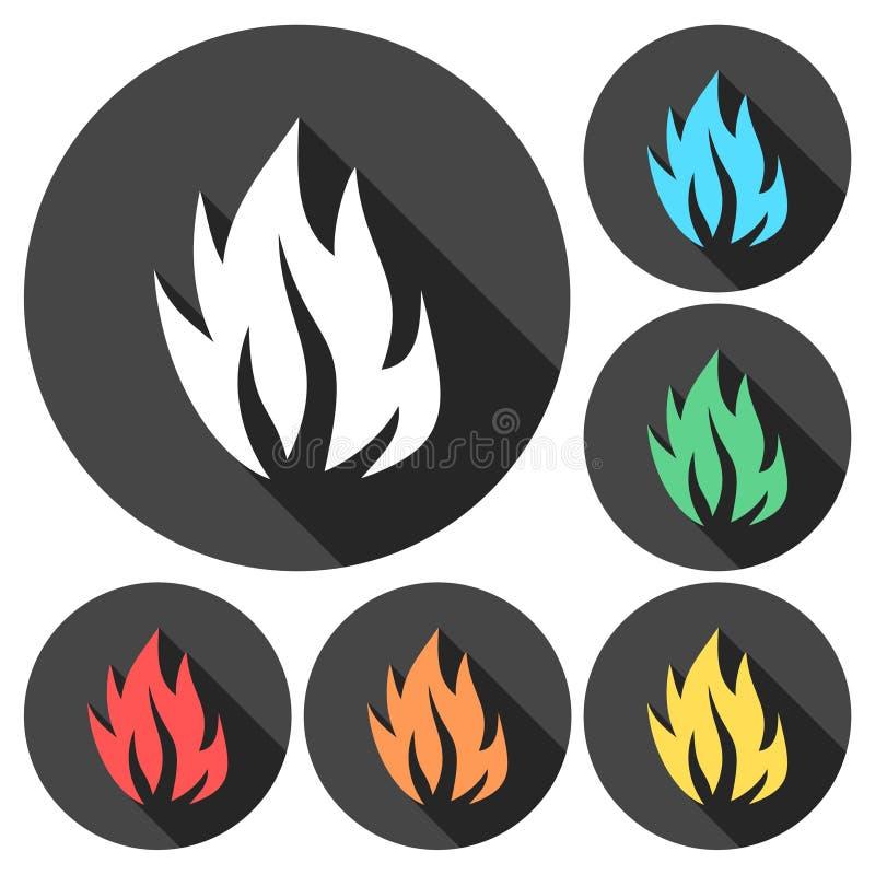 Φλόγες πυρκαγιάς, καθορισμένα εικονίδια με τη μακριά σκιά ελεύθερη απεικόνιση δικαιώματος
