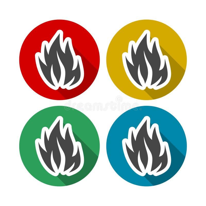 Φλόγες πυρκαγιάς, καθορισμένα εικονίδια με τη μακριά σκιά διανυσματική απεικόνιση