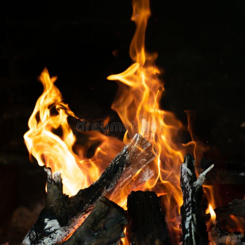 Φλόγες πυρκαγιάς στη σόμπα φωτιών στοκ εικόνα με δικαίωμα ελεύθερης χρήσης