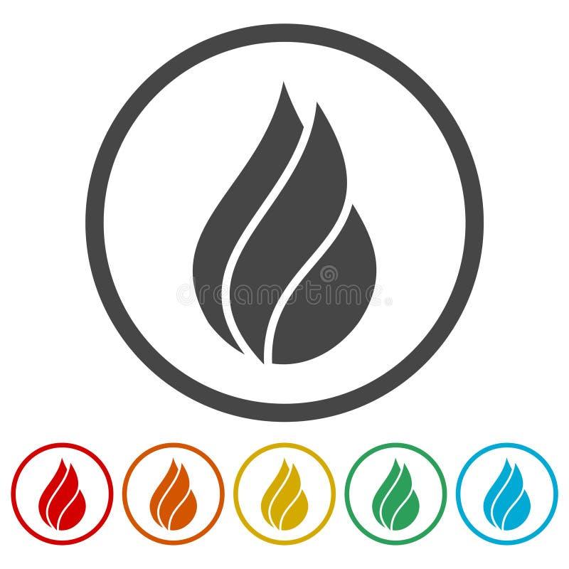 Φλόγες πυρκαγιάς, σύνολο αυτοκόλλητων ετικεττών ελεύθερη απεικόνιση δικαιώματος