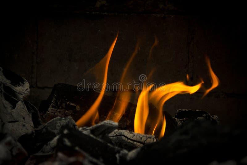Φλόγες σχαρών πυρκαγιάς για το μαγείρεμα του κρέατος στοκ φωτογραφία με δικαίωμα ελεύθερης χρήσης