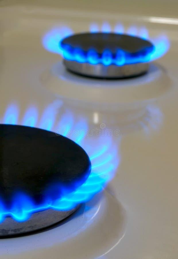 Φλόγες της σόμπας αερίου στοκ εικόνα με δικαίωμα ελεύθερης χρήσης