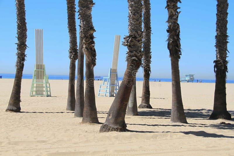 Φοίνικας και καρέκλες Καλιφόρνιας παραλιών της Σάντα Μόνικα στοκ φωτογραφία με δικαίωμα ελεύθερης χρήσης