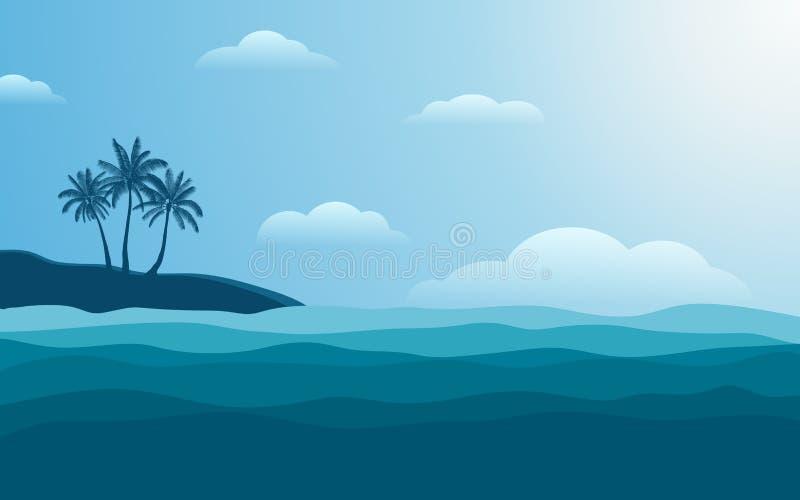 Φοίνικας σκιαγραφιών στην ακτή το μεσημέρι με τον μπλε ουρανό χρώματος στο επίπεδο υπόβαθρο σχεδίου εικονιδίων ελεύθερη απεικόνιση δικαιώματος