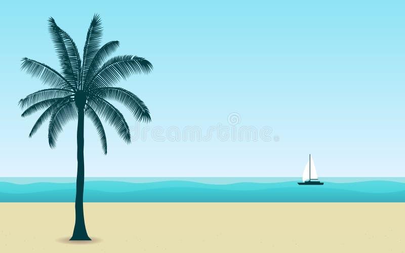 Φοίνικας σκιαγραφιών στην παραλία το μεσημέρι με τον μπλε ουρανό χρώματος στο επίπεδο υπόβαθρο σχεδίου εικονιδίων διανυσματική απεικόνιση