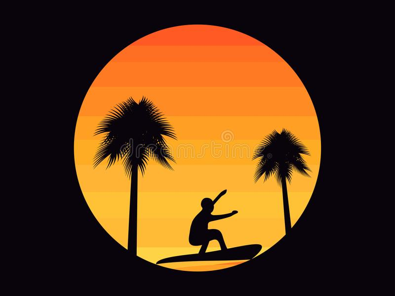 Φοίνικες και ένα surfer σε ένα υπόβαθρο ηλιοβασιλέματος στο ύφος της δεκαετίας του '80 Τροπικό ανατολή ή ηλιοβασίλεμα διάνυσμα διανυσματική απεικόνιση