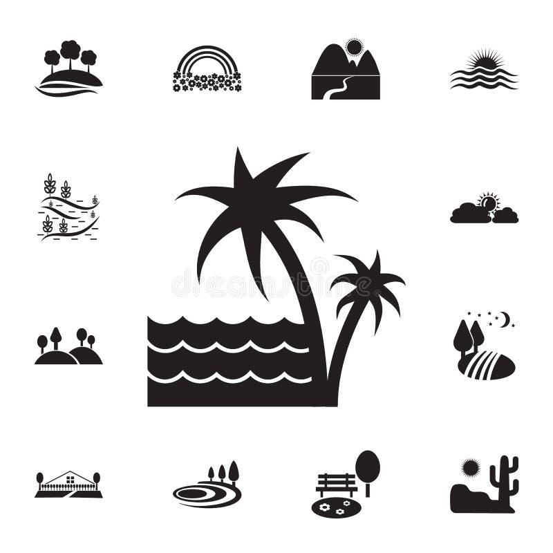 φοίνικες και το εικονίδιο θάλασσας Λεπτομερές σύνολο εικονιδίων τοπίων Γραφικό σχέδιο ασφαλίστρου Ένα από τα εικονίδια συλλογής γ διανυσματική απεικόνιση