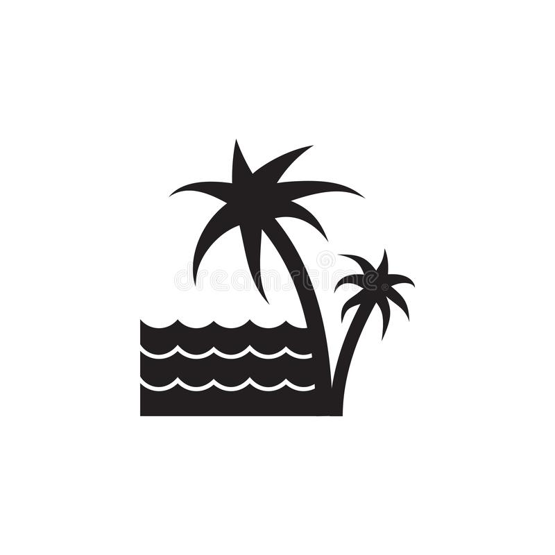 φοίνικες και το εικονίδιο θάλασσας Στοιχείο της απεικόνισης τοπίων Γραφικό εικονίδιο σχεδίου εξαιρετικής ποιότητας Εικονίδιο συλλ απεικόνιση αποθεμάτων