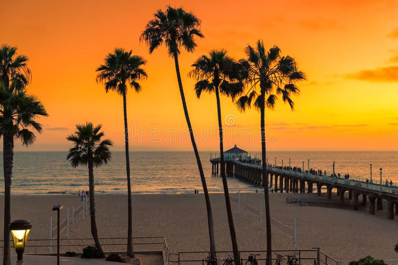 Φοίνικες στο πορτοκαλί ηλιοβασίλεμα στην παραλία Καλιφόρνιας στοκ φωτογραφία με δικαίωμα ελεύθερης χρήσης