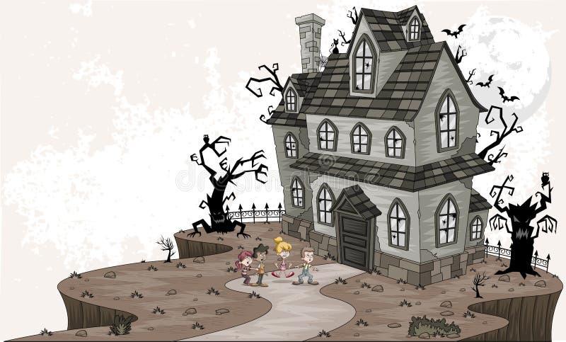 Φοβησμένα παιδιά κινούμενων σχεδίων μπροστά από το συχνασμένο σπίτι διανυσματική απεικόνιση