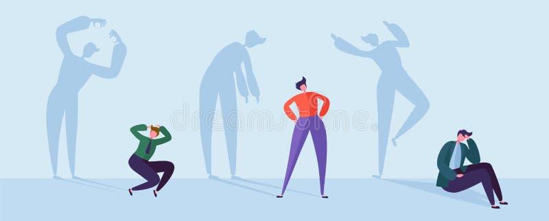 Φοβησμένοι επιχειρηματίες με τις τονισμένες σκιές Αρσενικοί χαρακτήρες με τις σκιαγραφίες του αγχωτικού ατόμου Κατάθλιψη, πίεση διανυσματική απεικόνιση