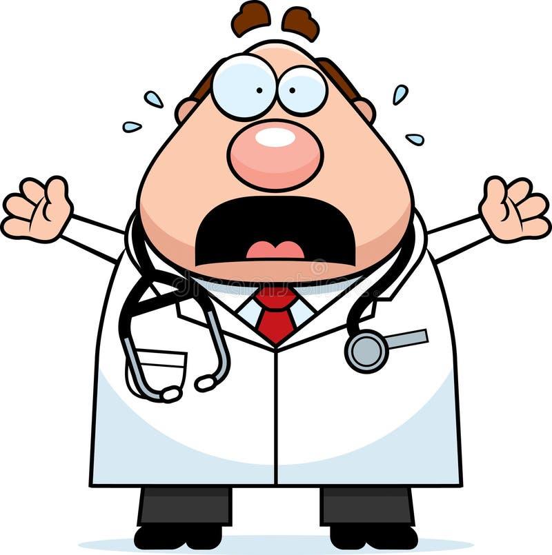 Φοβησμένος γιατρός κινούμενων σχεδίων διανυσματική απεικόνιση