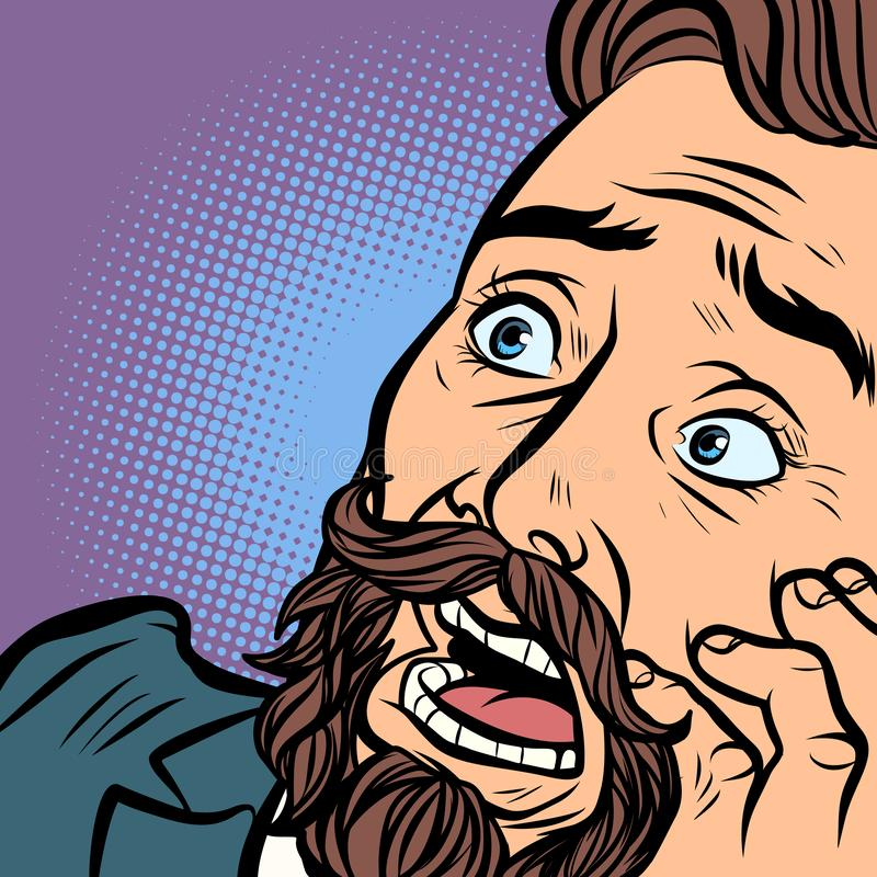 Φοβησμένο γενειοφόρο άτομο, φόβος και φρίκη hipster κινηματογράφηση σε πρώτο πλάνο προσώπου διανυσματική απεικόνιση