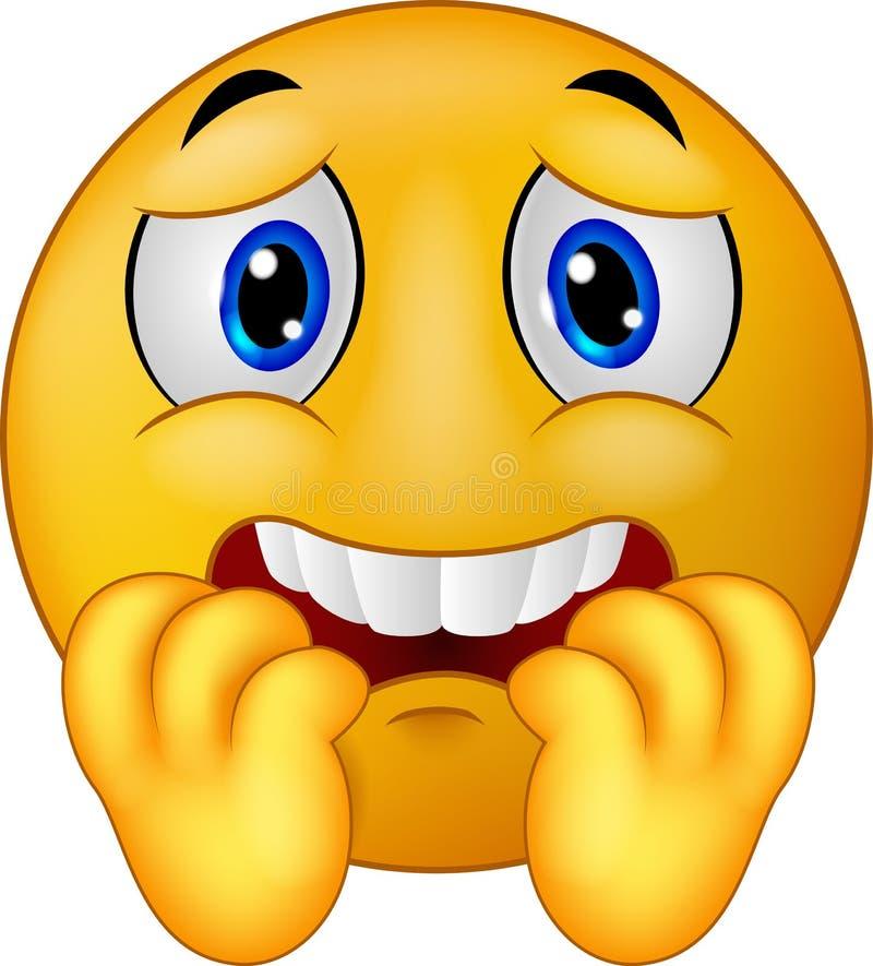 Φοβησμένο κινούμενα σχέδια emoticon smiley διανυσματική απεικόνιση