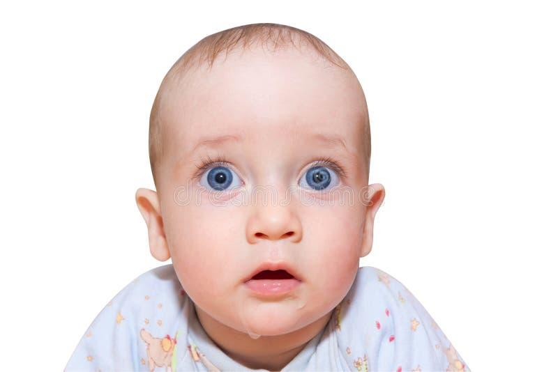Φοβησμένο μωρό που απομονώνεται στο λευκό στοκ εικόνες με δικαίωμα ελεύθερης χρήσης