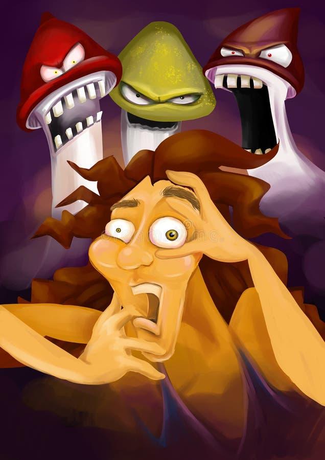 Φοβησμένο πρόσωπο που έχει ένα κακό psychedelic ταξίδι amanita ή psilocybe τα μανιτάρια, που υφίσταται το εθισμό στα ναρκωτικά. διανυσματική απεικόνιση