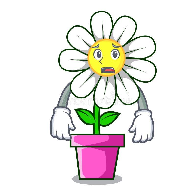 Φοβισμένα κινούμενα σχέδια μασκότ λουλουδιών μαργαριτών ελεύθερη απεικόνιση δικαιώματος