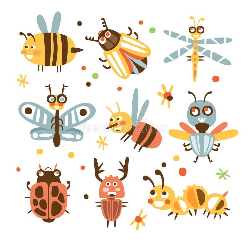 Φοβιτσιάρες σύνολο ζωύφιων και εντόμων μικρών ζώων με τα πρόσωπα χαμόγελου και τυποποιημένο σχέδιο των οργανισμών ελεύθερη απεικόνιση δικαιώματος