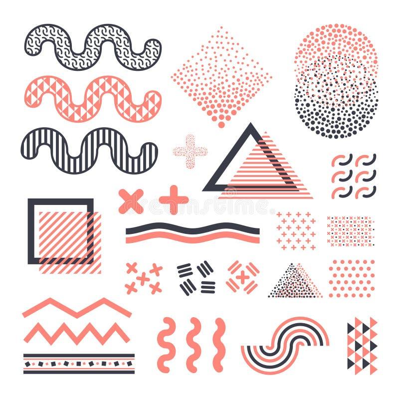 Φοβιτσιάρη γραφικά διανυσματικά στοιχεία της Μέμφιδας που απομονώνονται στο άσπρο υπόβαθρο διανυσματική απεικόνιση