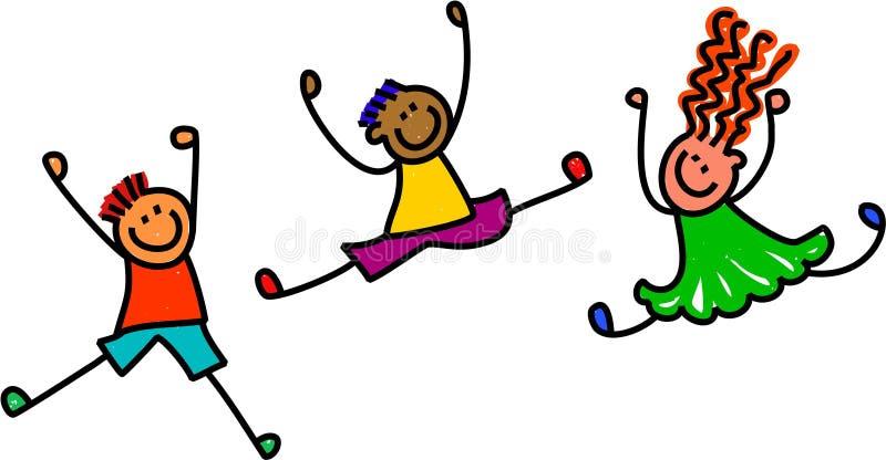 Φοβιτσιάρη πηδώντας παιδιά ελεύθερη απεικόνιση δικαιώματος