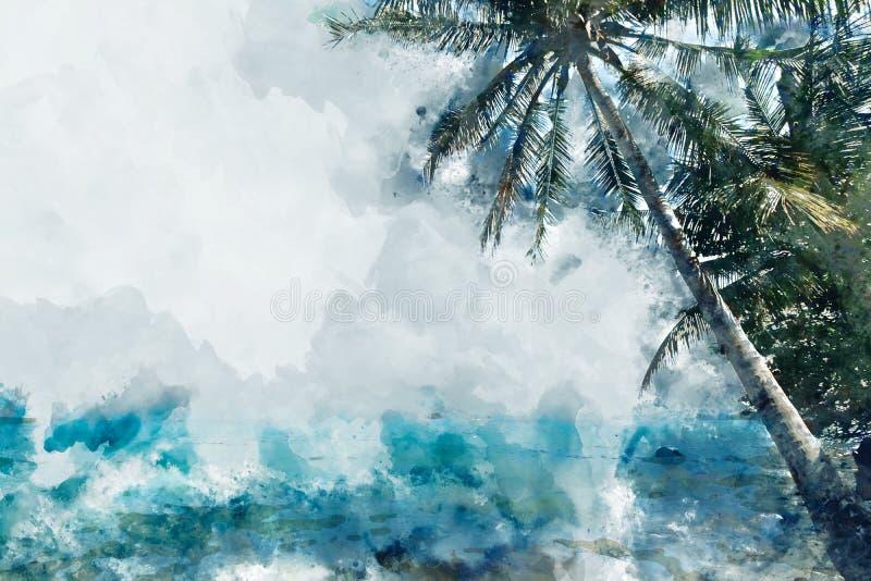 Φοινικόδεντρο καρύδας στην παραλία, εικόνα μπλε σκιάς, ζωγραφική ψηφια απεικόνιση αποθεμάτων