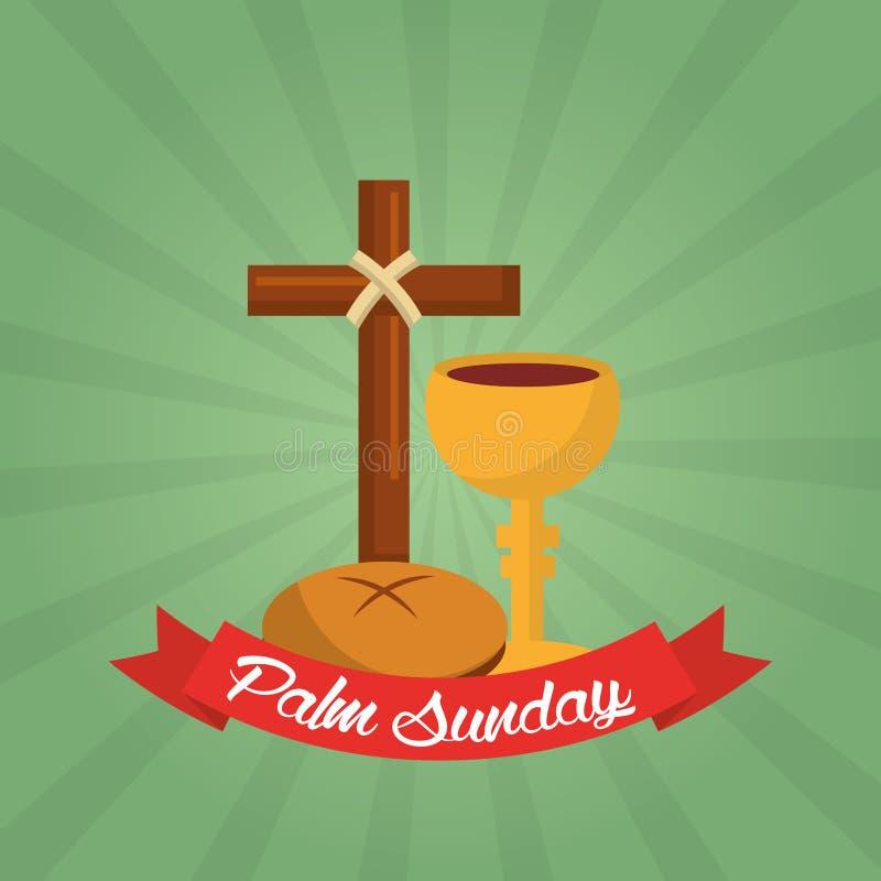 Φοινικών πράσινο υπόβαθρο εορτασμού της Κυριακής χριστιανικό απεικόνιση αποθεμάτων