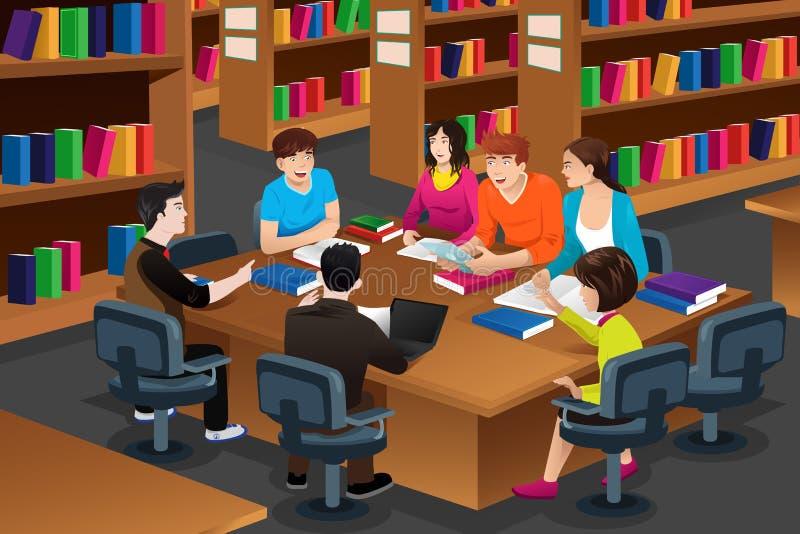 Φοιτητές πανεπιστημίου που μελετούν στη βιβλιοθήκη ελεύθερη απεικόνιση δικαιώματος