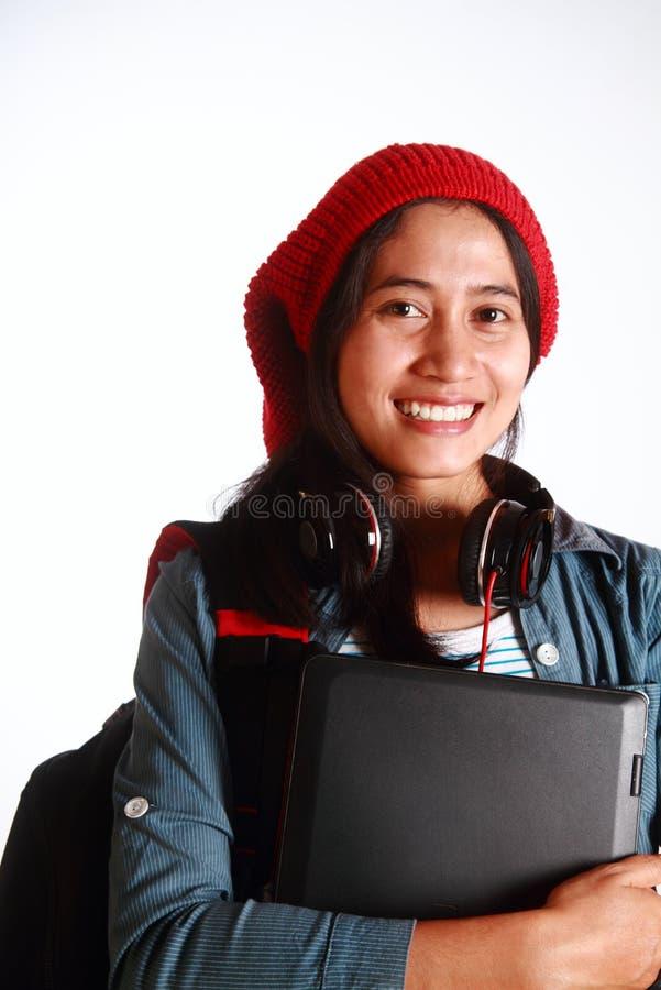 Φοιτητής πανεπιστημίου πέρα από το άσπρο υπόβαθρο στοκ εικόνα