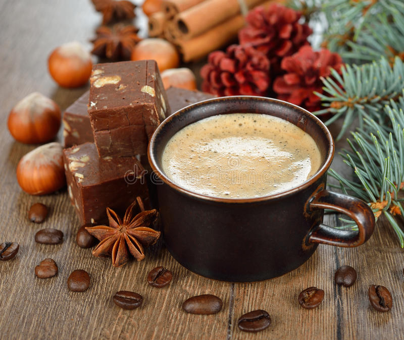 Φοντάν καφέ και σοκολάτας στοκ φωτογραφία