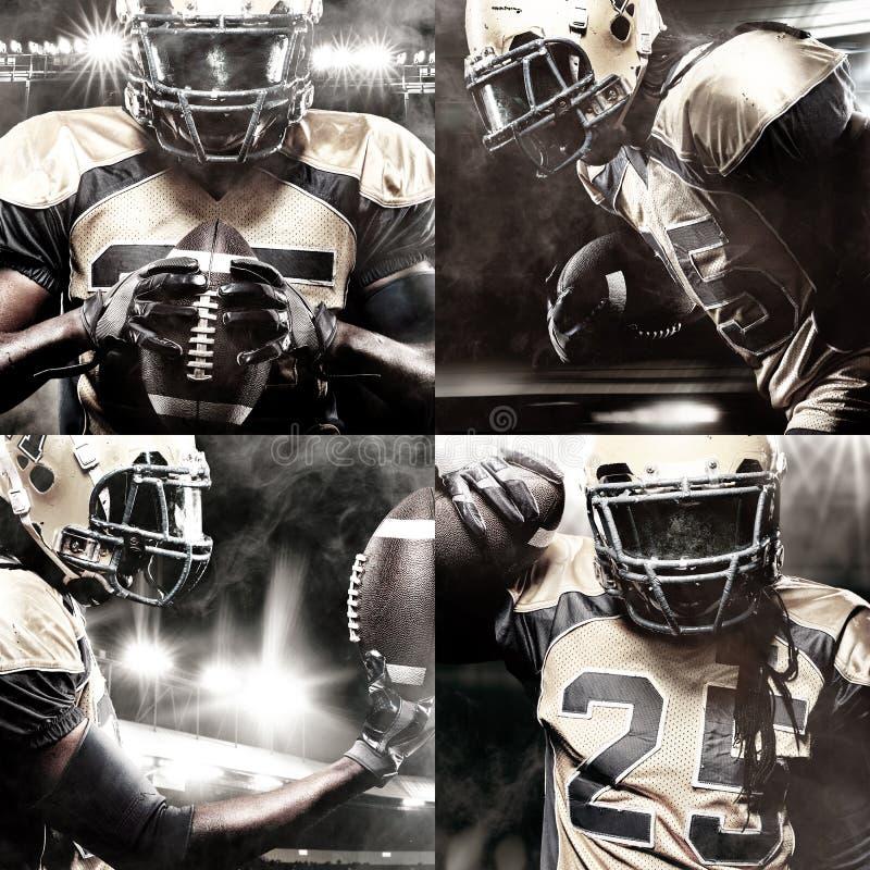 Φορέας αθλητικών τύπων αμερικανικού ποδοσφαίρου στο στάδιο με τα φω'τα στο υπόβαθρο στοκ φωτογραφία με δικαίωμα ελεύθερης χρήσης