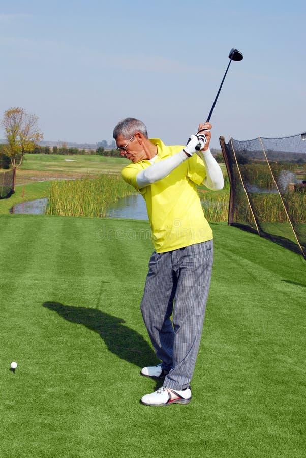 Φορέας γκολφ έτοιμος για το χτύπημα στοκ φωτογραφία με δικαίωμα ελεύθερης χρήσης