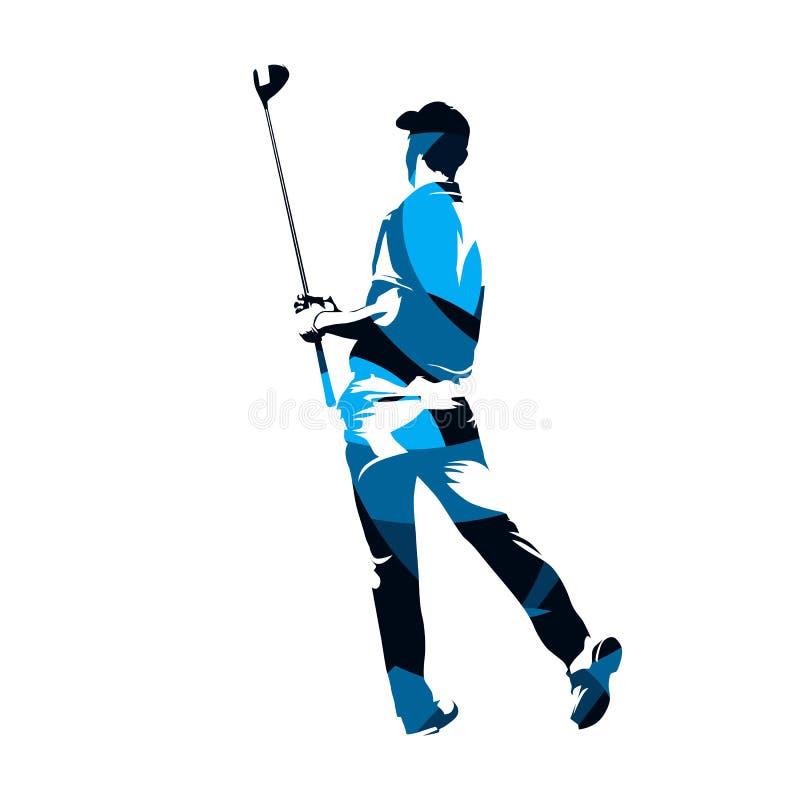 Φορέας γκολφ που στέκεται και που κρατά τον οδηγό στα χέρια του Αφηρημένο β ελεύθερη απεικόνιση δικαιώματος