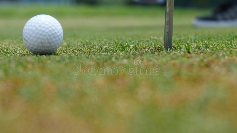 Φορέας γκολφ που βάζει τη σφαίρα στην τρύπα, μόνο πόδια και σίδηρος που βλέπουν στοκ φωτογραφία