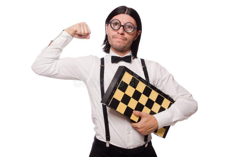 Φορέας σκακιού Nerd που απομονώνεται στο λευκό στοκ φωτογραφία