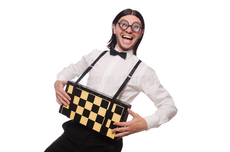 Φορέας σκακιού Nerd που απομονώνεται στοκ εικόνες