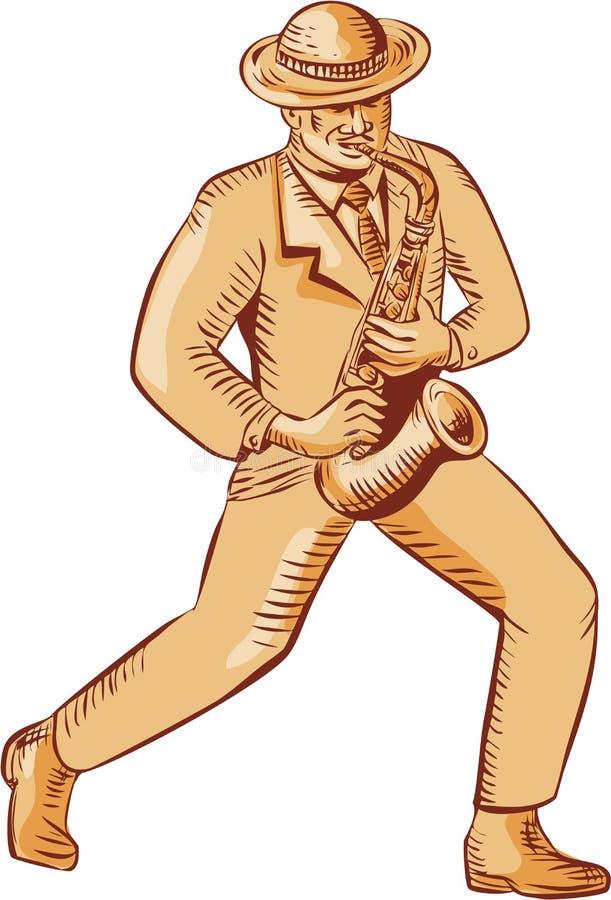 Φορέας της Jazz που παίζει Saxophone χαρακτική διανυσματική απεικόνιση