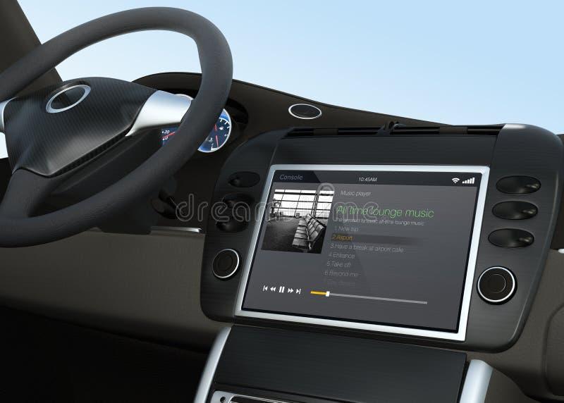 Φορέας app μουσικής για το σύστημα ψυχαγωγίας αυτοκινήτων ελεύθερη απεικόνιση δικαιώματος