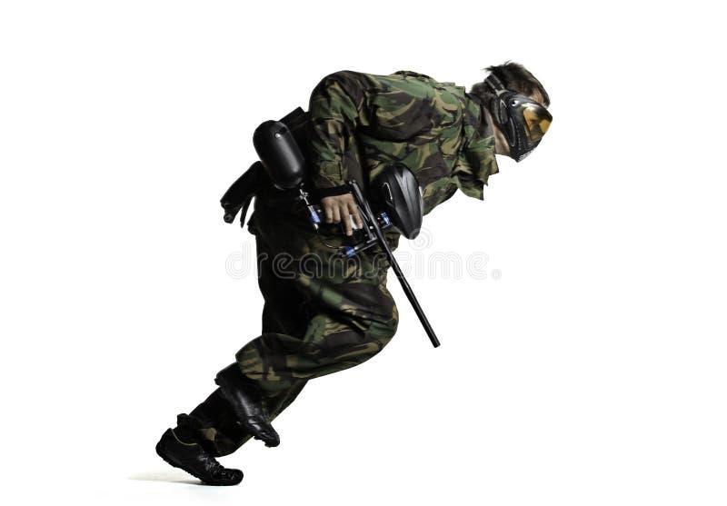 Φορέας Paintball στη δράση που απομονώνεται στοκ φωτογραφία με δικαίωμα ελεύθερης χρήσης