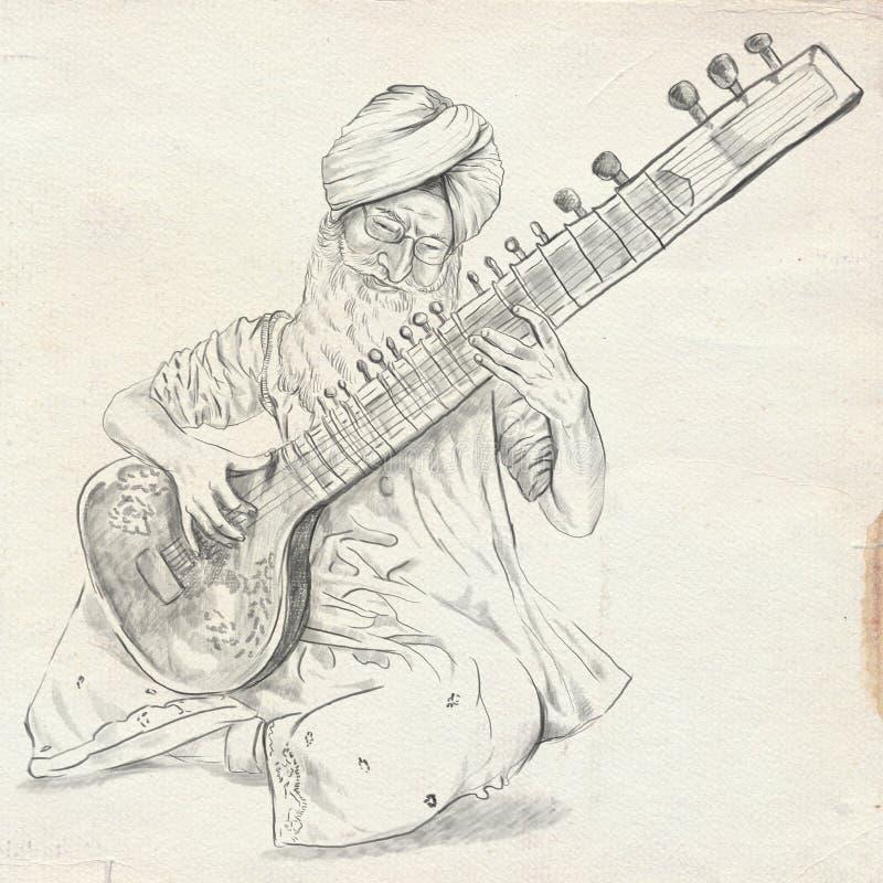 Φορέας Tanpura Ελεύθερο σκίτσο Πλήρης - μεγέθους, αρχικός ελεύθερη απεικόνιση δικαιώματος