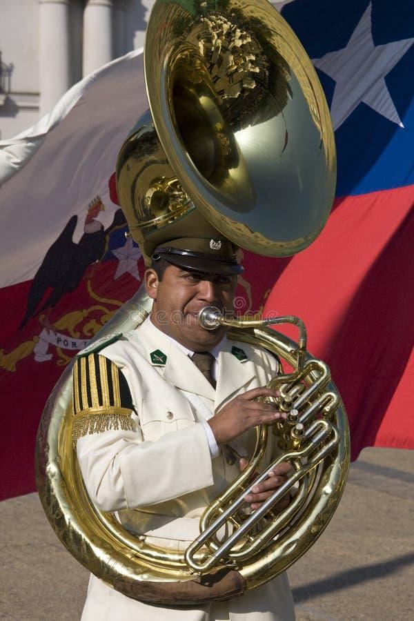 Φορέας Tuba στην προεδρική ζώνη - Χιλή στοκ φωτογραφίες