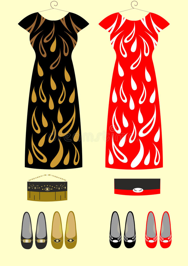 Φορέματα μόδας για τις τσάντες και τα παπούτσια κοριτσιών διανυσματική απεικόνιση