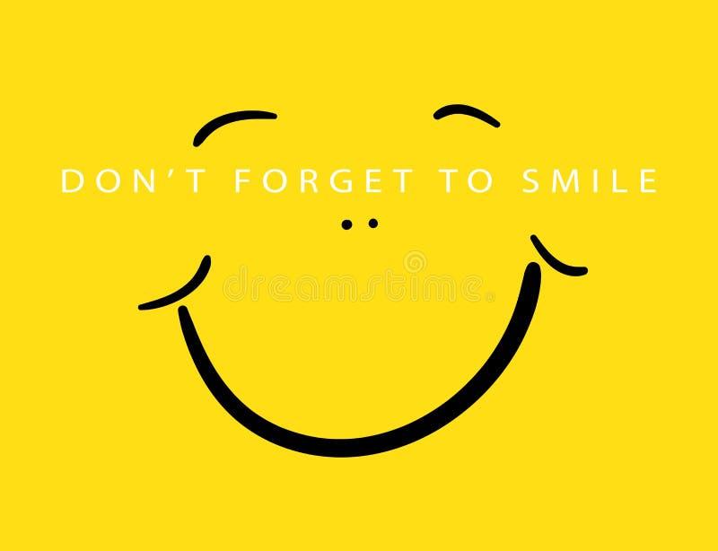 Φορέστε ` τ ξεχνά να χαμογελάσει/υφαντικό διανυσματικό σχέδιο τυπωμένων υλών στοκ εικόνα
