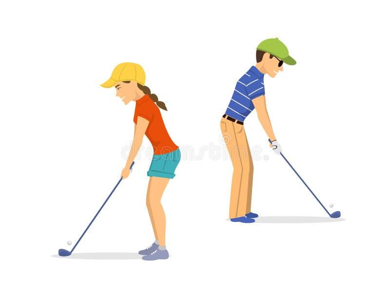 Φορείς γκολφ ανδρών και γυναικών απεικόνιση αποθεμάτων