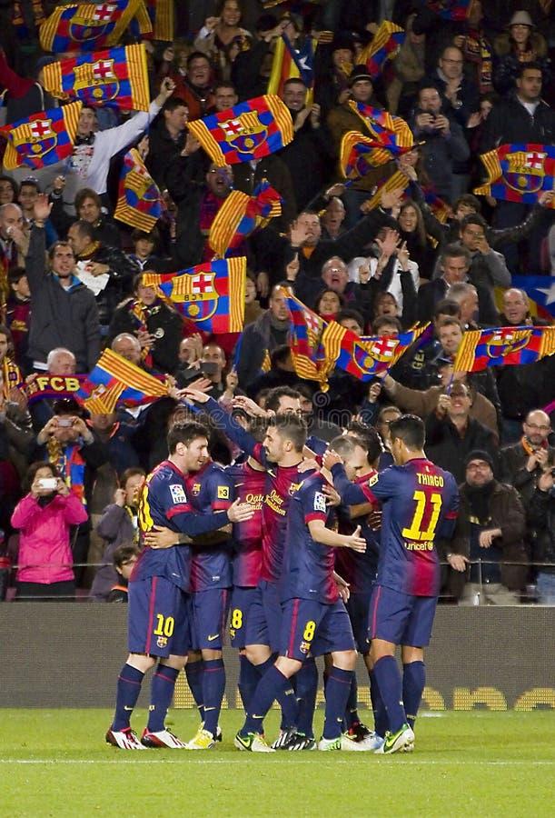 Φορείς της Βαρκελώνης που γιορτάζουν έναν στόχο στοκ εικόνα
