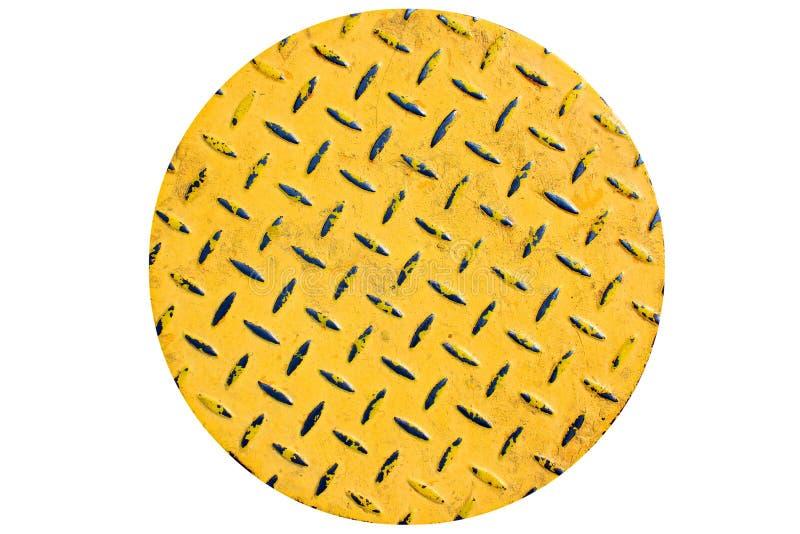 Φορεμένες προσκρούσεις ασφάλειας στο κίτρινο χρωματισμένο πάτωμα μετάλλων Στρογγυλό πιάτο, που απομονώνεται στο άσπρο κλίμα στοκ φωτογραφίες