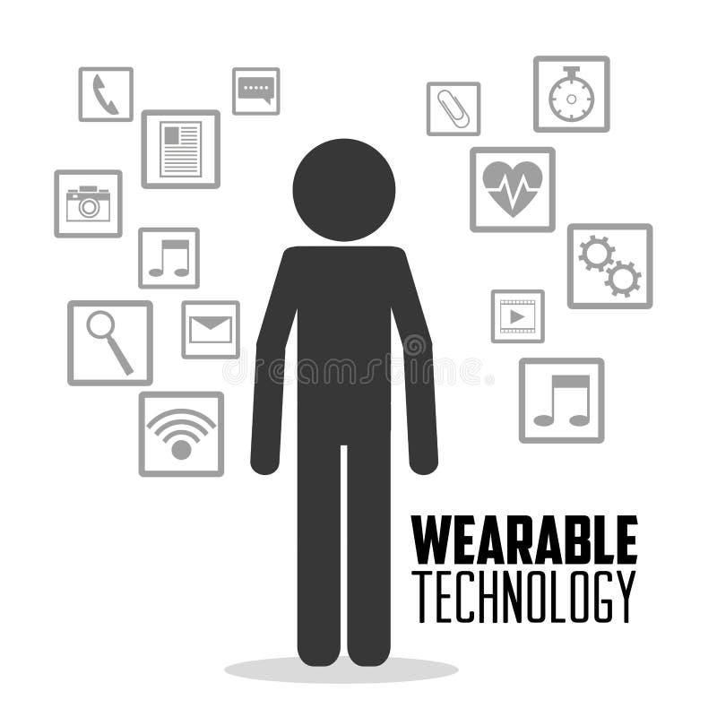Φορετά εικονίδια μέσων προσώπων τεχνολογίας διανυσματική απεικόνιση