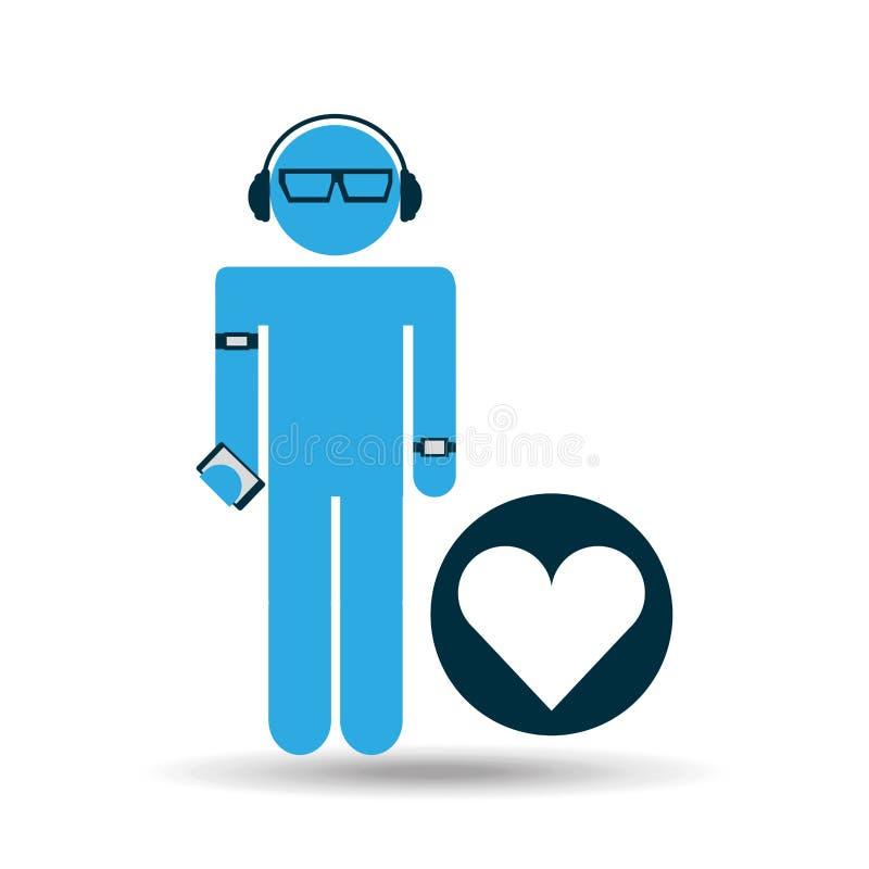 Φορετή καρδιά αγάπης τεχνολογίας σκιαγραφιών ελεύθερη απεικόνιση δικαιώματος