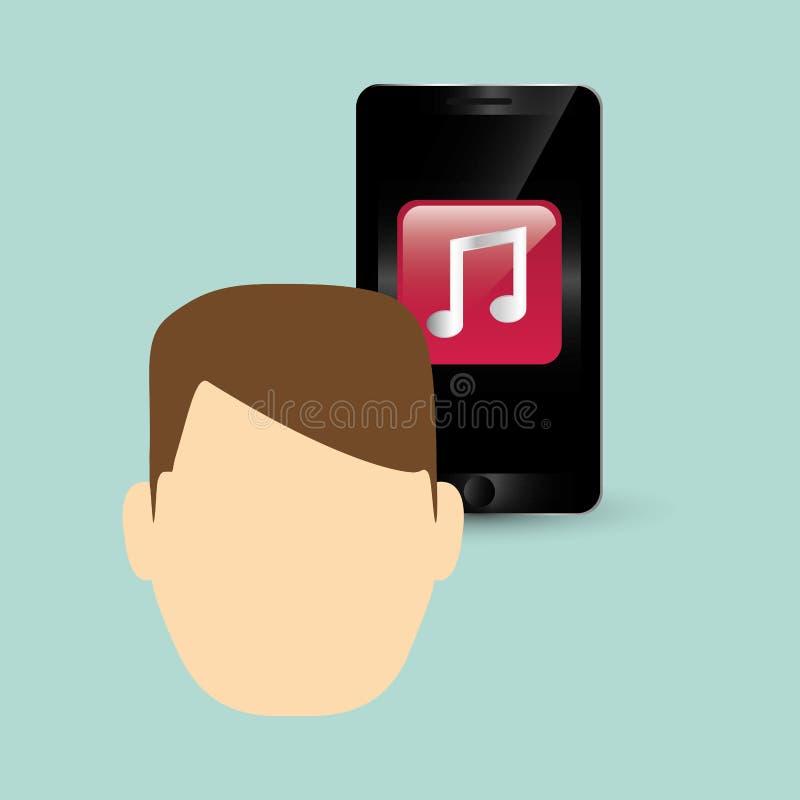 Φορετό σχέδιο τεχνολογίας Κοινωνικό εικονίδιο μέσων smartphone concep, διανυσματική απεικόνιση διανυσματική απεικόνιση
