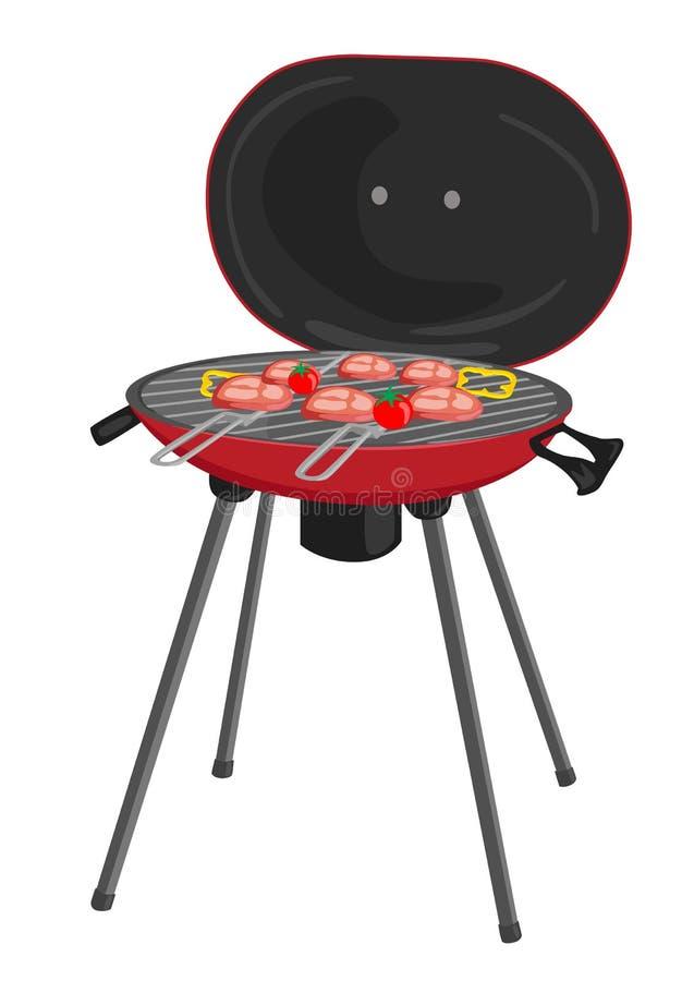 Φορητή σχάρα με το κρέας, τις ντομάτες και τα πιπέρια που ψήνουν στη σχάρα πέρα από τους άνθρακες ελεύθερη απεικόνιση δικαιώματος